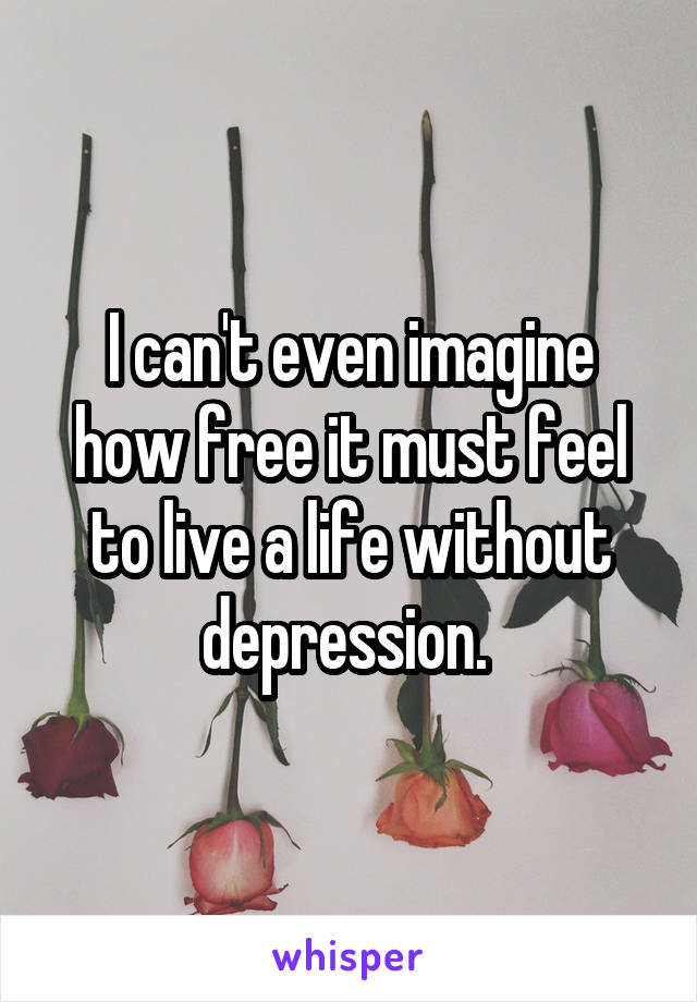 I can't even imagine how free it must feel to live a life without depression.