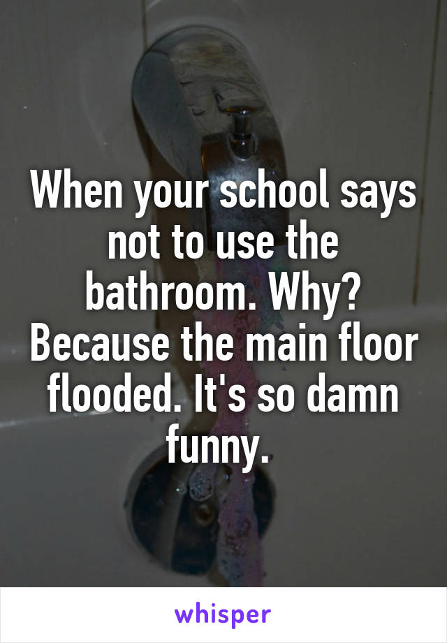 When your school says not to use the bathroom. Why? Because the main floor flooded. It's so damn funny.