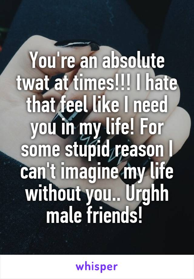 You're an absolute twat at times!!! I hate that feel like I need you in my life! For some stupid reason I can't imagine my life without you.. Urghh male friends!