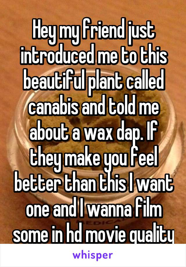 Hey my friend just introduced me to this beautiful plant called canabis and told me about a wax dap. If they make you feel better than this I want one and I wanna film some in hd movie quality