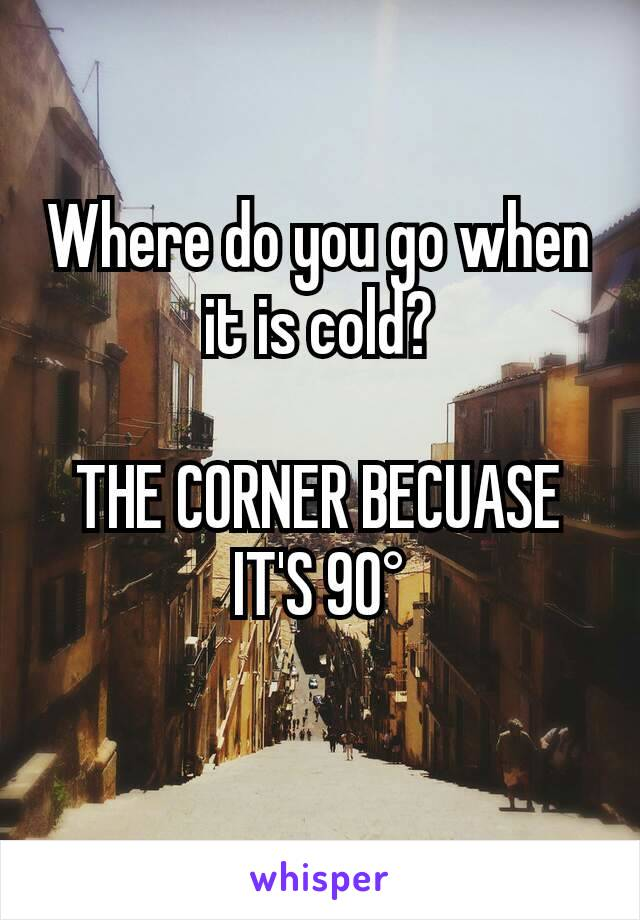 Where do you go when it is cold?  THE CORNER BECUASE IT'S 90°