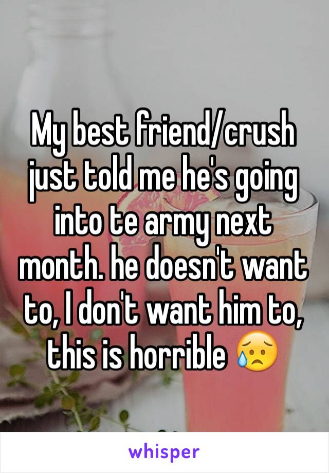 My best friend/crush just told me he's going into te army next month. he doesn't want to, I don't want him to, this is horrible 😥