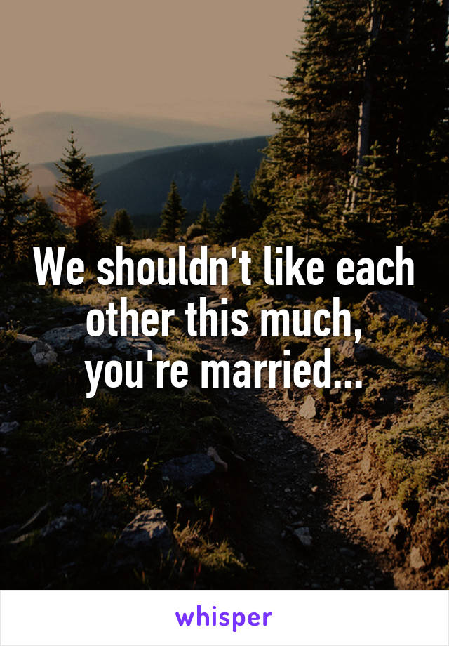 We shouldn't like each other this much, you're married...