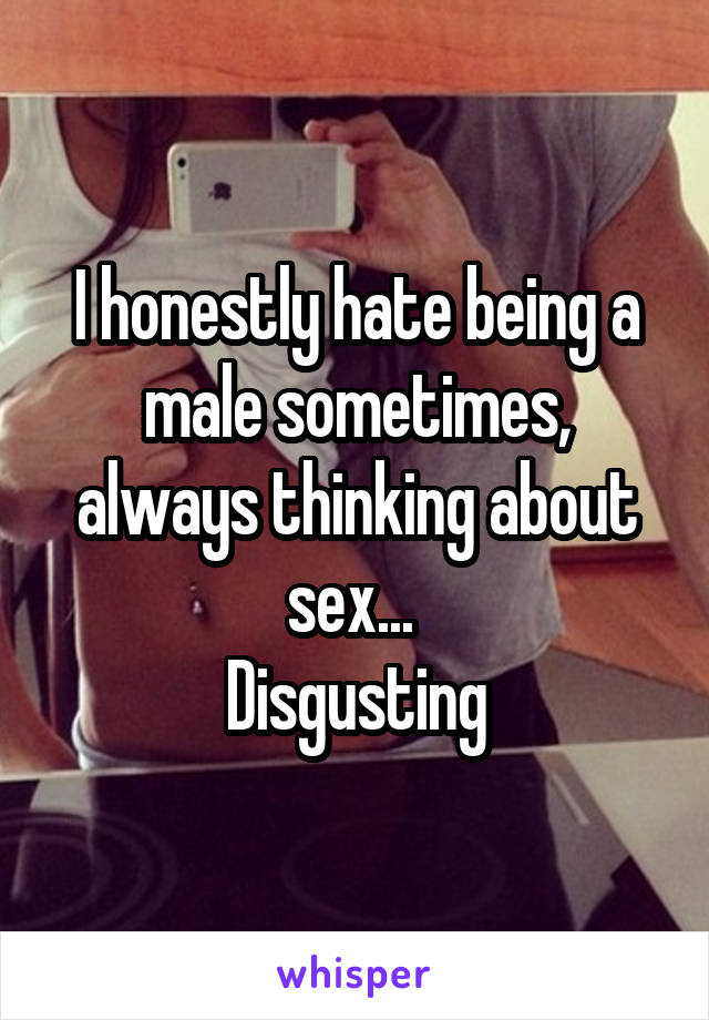 I honestly hate being a male sometimes, always thinking about sex...  Disgusting