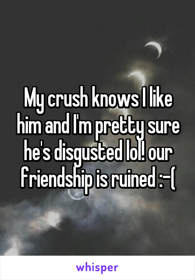 My crush knows I like him and I'm pretty sure he's disgusted lol! our friendship is ruined :-(