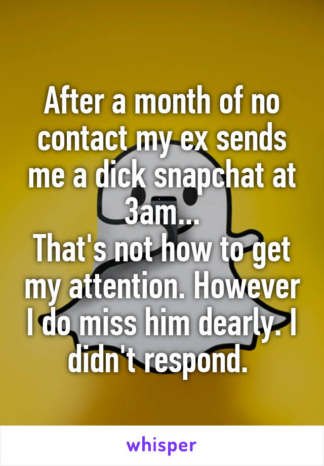 After a month of no contact my ex sends me a dick snapchat at 3am... That's not how to get my attention. However I do miss him dearly. I didn't respond.