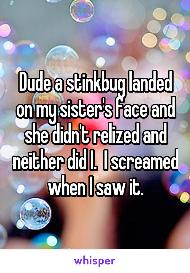 Dude a stinkbug landed on my sister's face and she didn't relized and neither did I.  I screamed when I saw it.