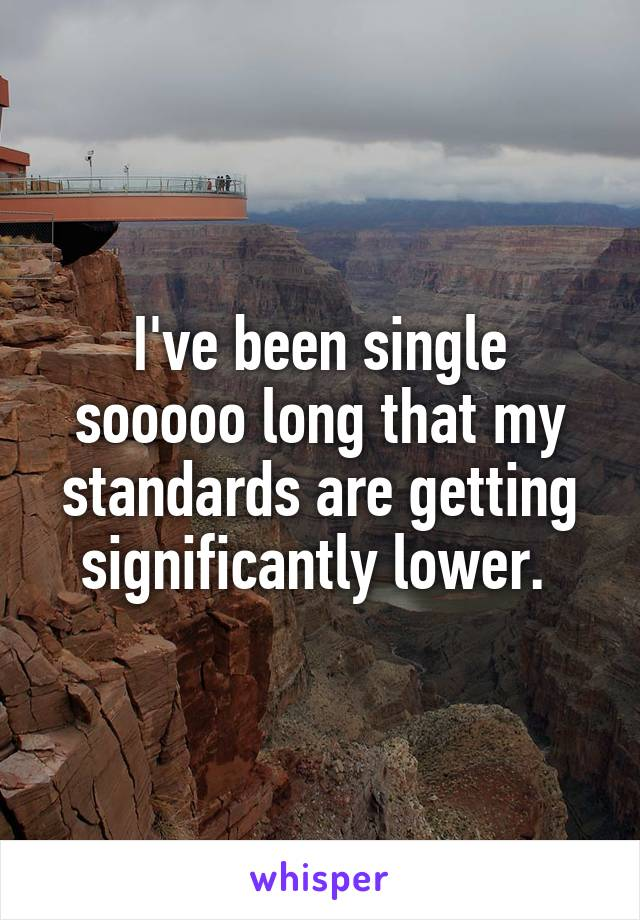 I've been single sooooo long that my standards are getting significantly lower.