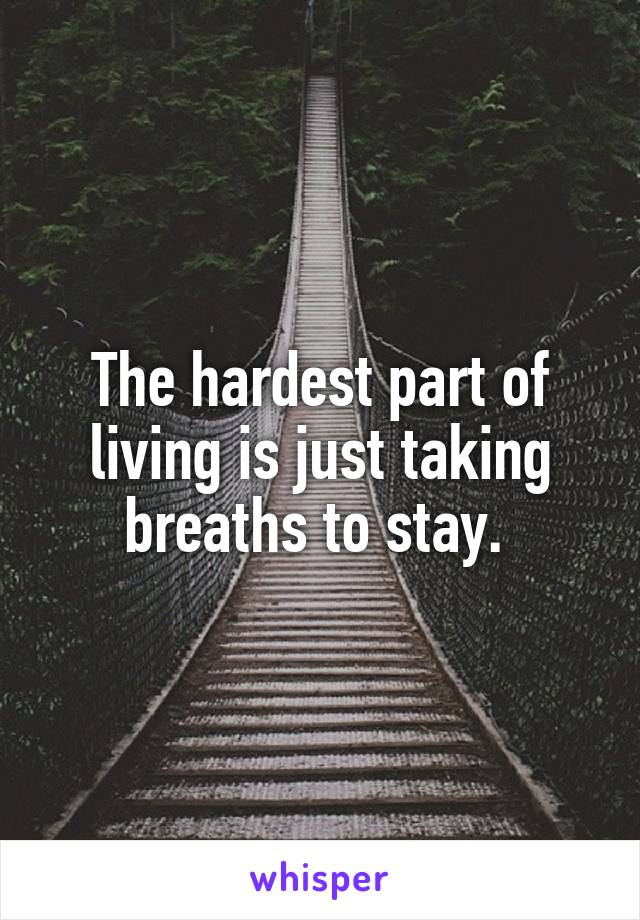 The hardest part of living is just taking breaths to stay.