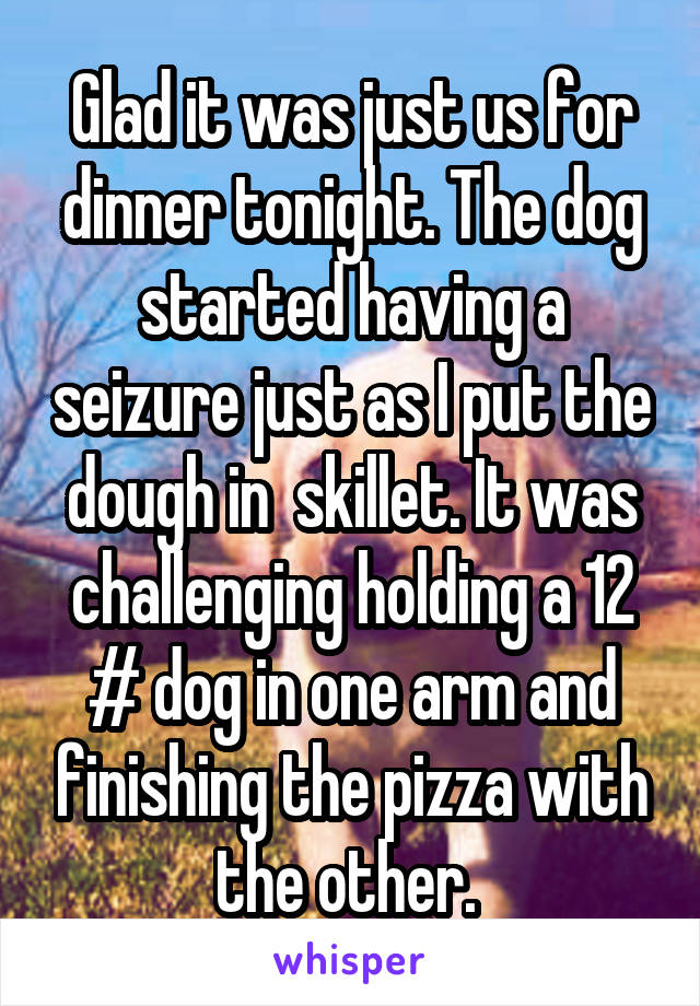 Glad it was just us for dinner tonight. The dog started having a seizure just as I put the dough in  skillet. It was challenging holding a 12 # dog in one arm and finishing the pizza with the other.