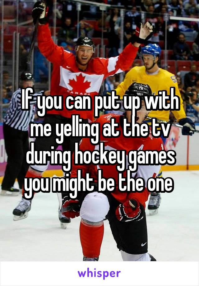 If you can put up with me yelling at the tv during hockey games you might be the one