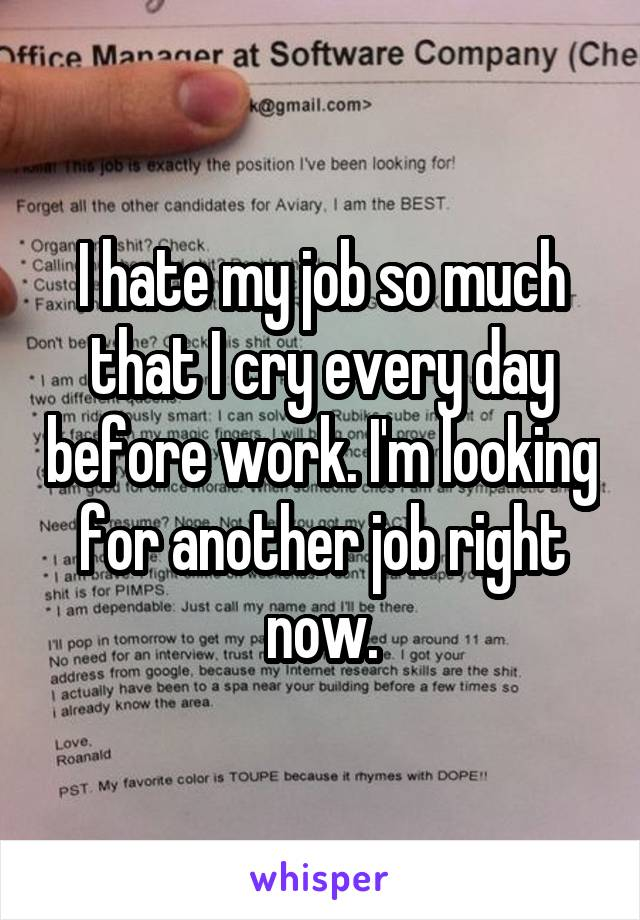 I hate my job so much that I cry every day before work. I'm looking for another job right now.