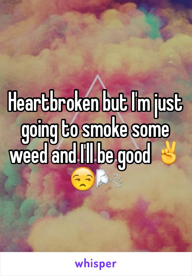 Heartbroken but I'm just going to smoke some weed and I'll be good ✌️😒🌬