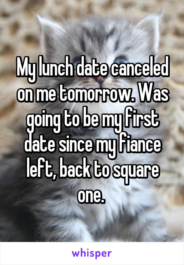 My lunch date canceled on me tomorrow. Was going to be my first date since my fiance left, back to square one.
