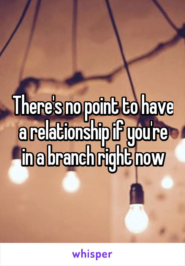 There's no point to have a relationship if you're in a branch right now