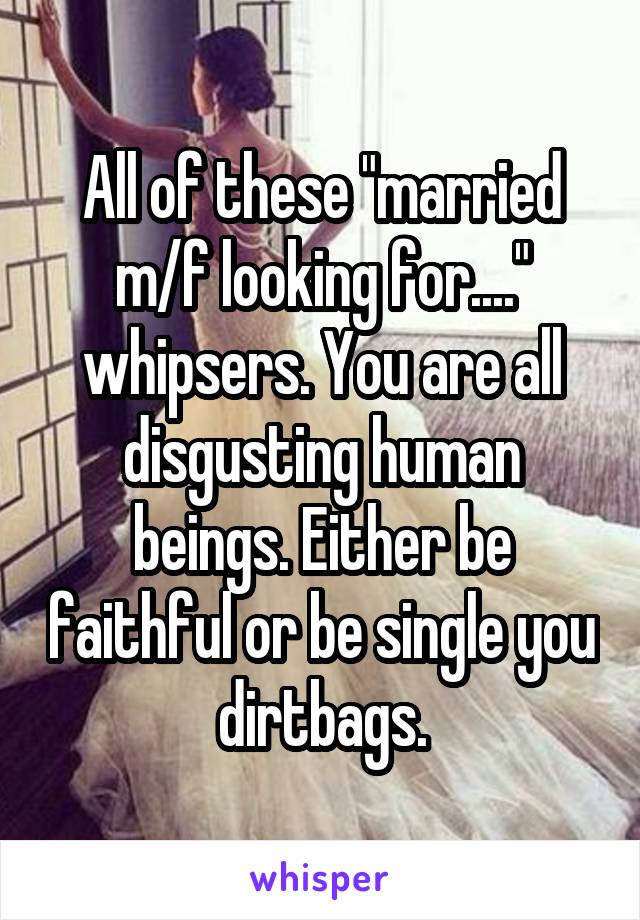 """All of these """"married m/f looking for...."""" whipsers. You are all disgusting human beings. Either be faithful or be single you dirtbags."""