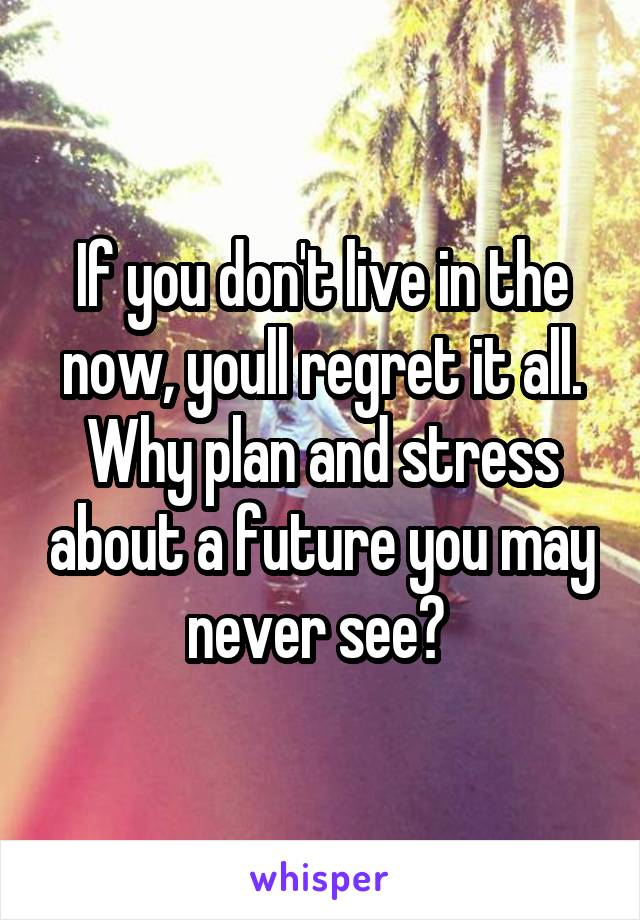 If you don't live in the now, youll regret it all. Why plan and stress about a future you may never see?