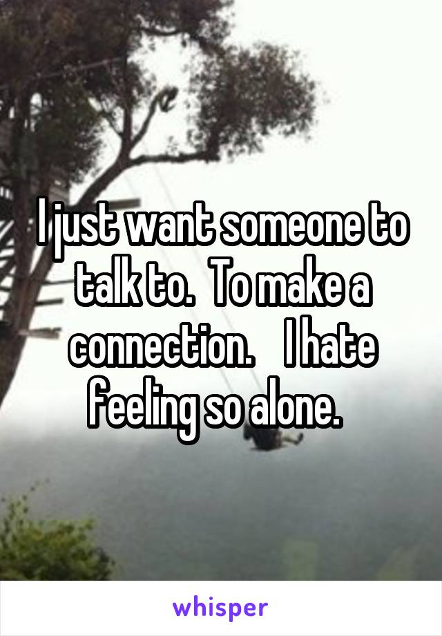 I just want someone to talk to.  To make a connection.    I hate feeling so alone.