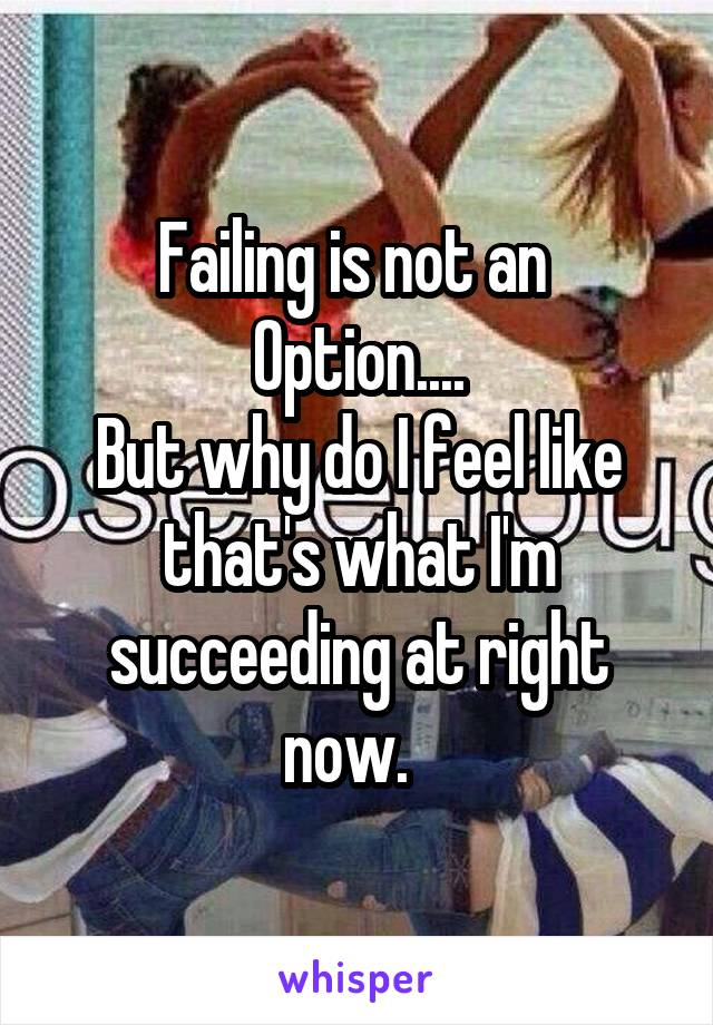 Failing is not an  Option.... But why do I feel like that's what I'm succeeding at right now.