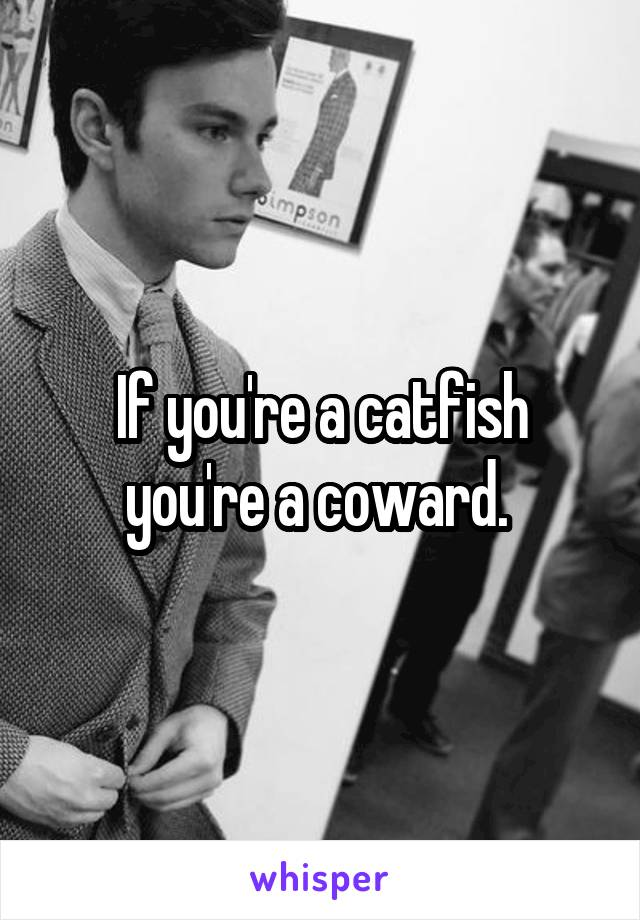 If you're a catfish you're a coward.