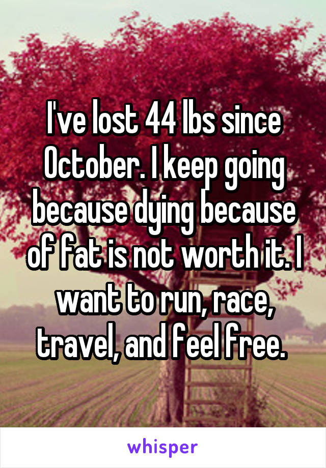 I've lost 44 lbs since October. I keep going because dying because of fat is not worth it. I want to run, race, travel, and feel free.