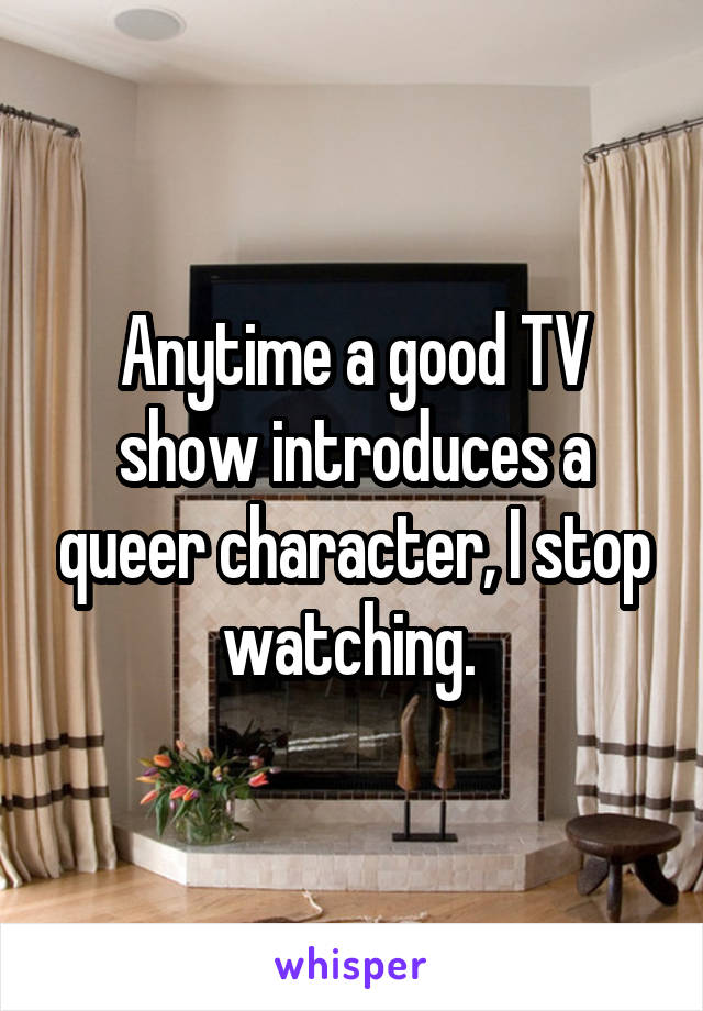 Anytime a good TV show introduces a queer character, I stop watching.