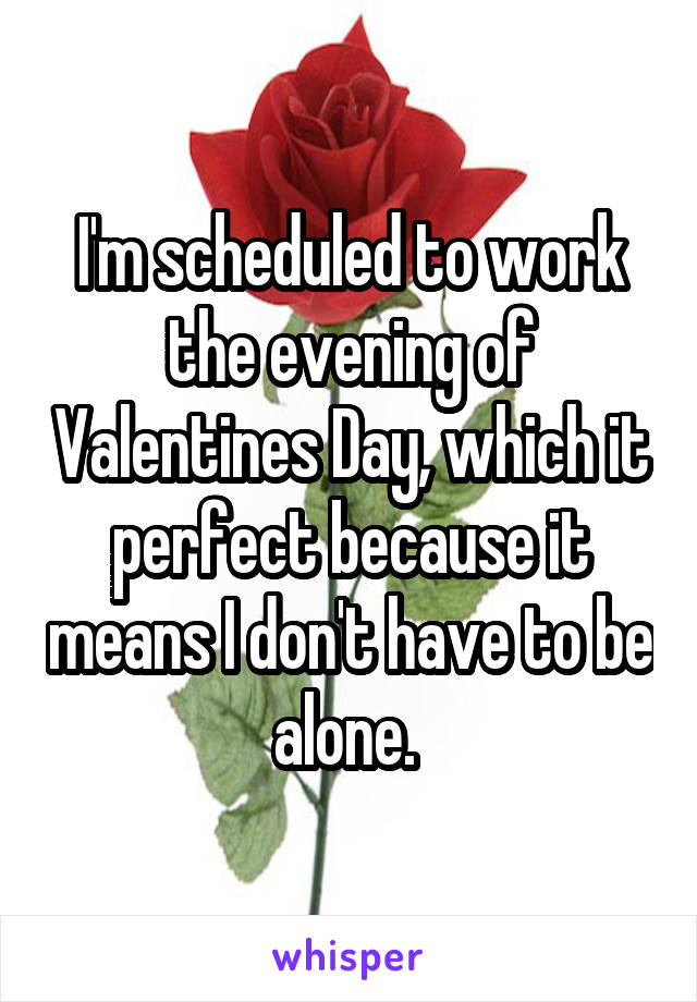 I'm scheduled to work the evening of Valentines Day, which it perfect because it means I don't have to be alone.