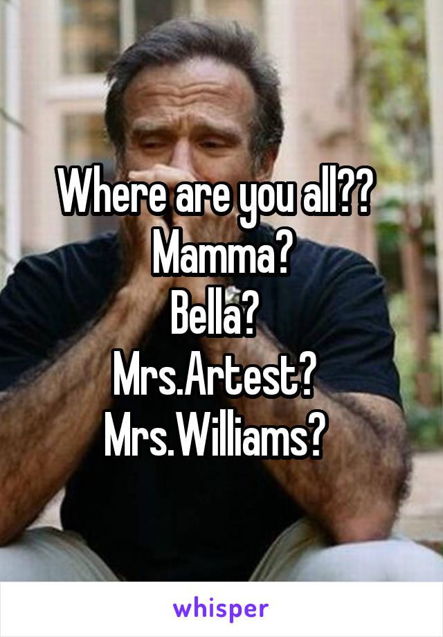 Where are you all??   Mamma? Bella?   Mrs.Artest?   Mrs.Williams?