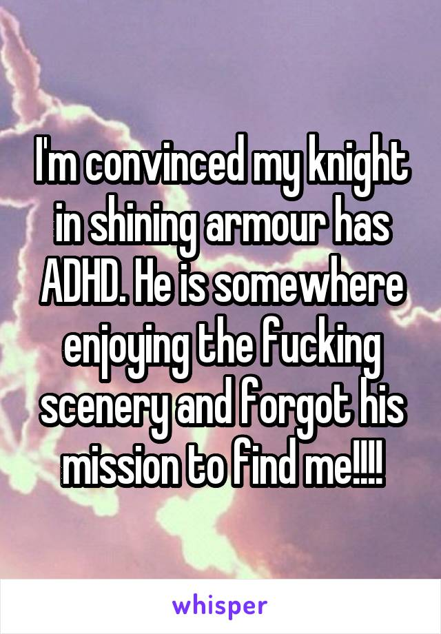 I'm convinced my knight in shining armour has ADHD. He is somewhere enjoying the fucking scenery and forgot his mission to find me!!!!