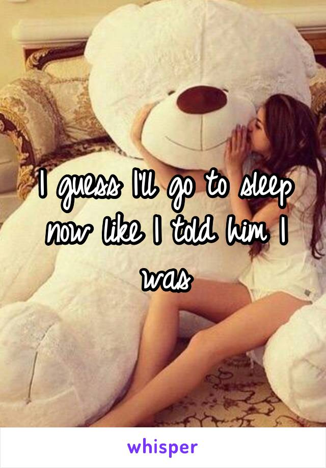 I guess I'll go to sleep now like I told him I was