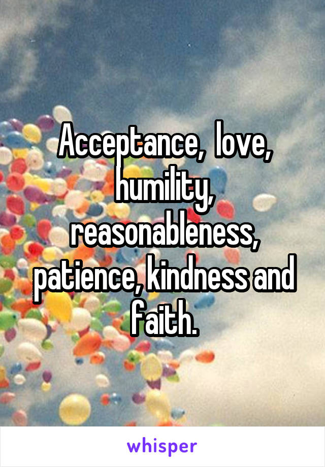 Acceptance,  love, humility, reasonableness, patience, kindness and faith.