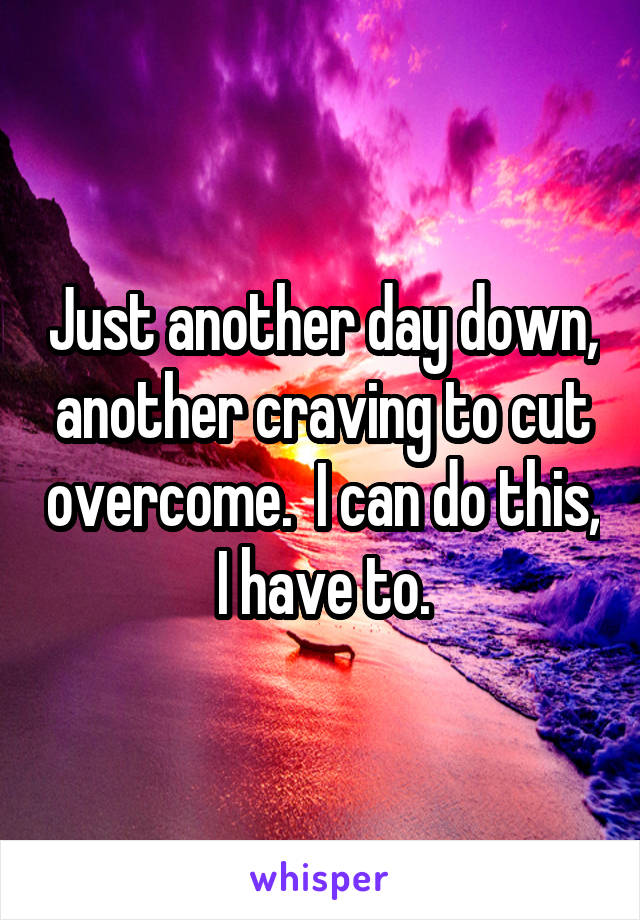 Just another day down, another craving to cut overcome.  I can do this, I have to.