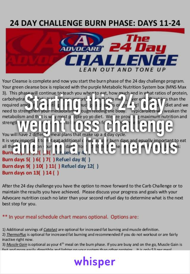 Starting this 24 day weight loss challenge and I'm a little nervous