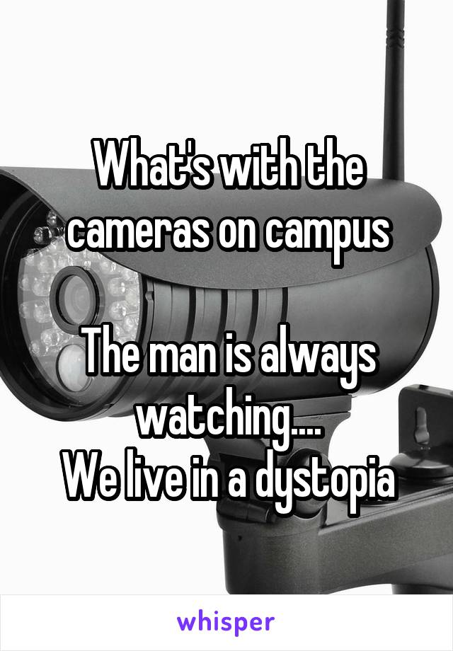 What's with the cameras on campus  The man is always watching.... We live in a dystopia