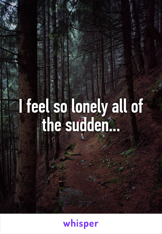I feel so lonely all of the sudden...