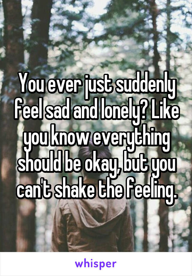 You ever just suddenly feel sad and lonely? Like you know everything should be okay, but you can't shake the feeling.