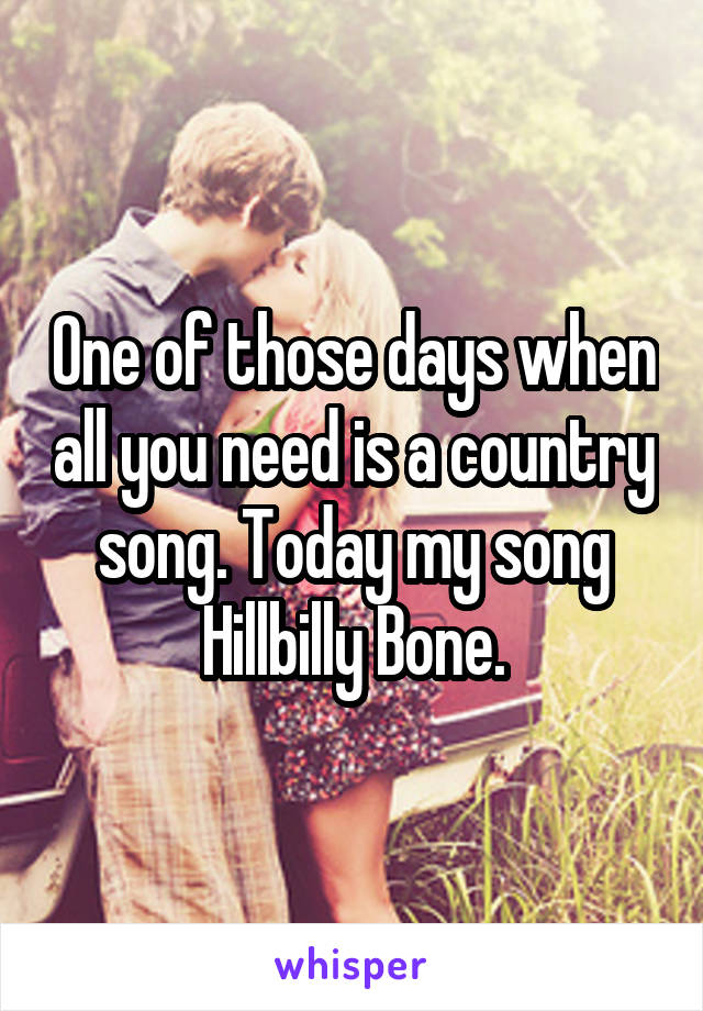 One of those days when all you need is a country song. Today my song Hillbilly Bone.