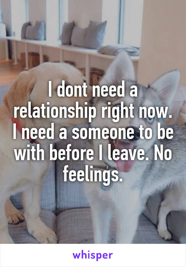 I dont need a relationship right now. I need a someone to be with before I leave. No feelings.