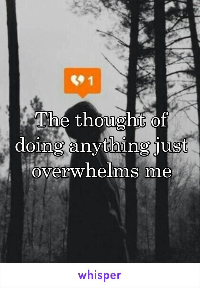 The thought of doing anything just overwhelms me
