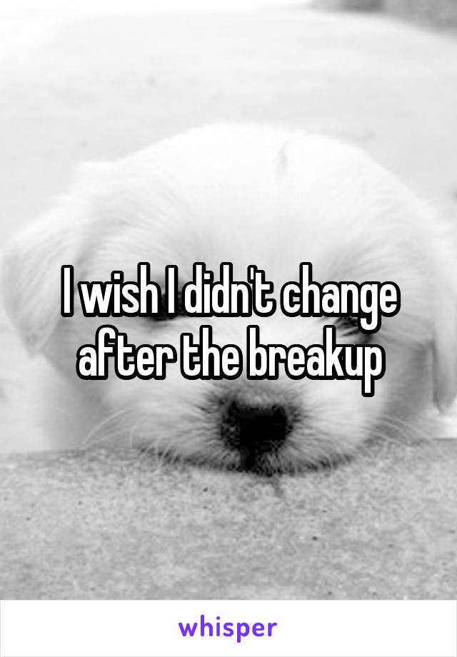 I wish I didn't change after the breakup