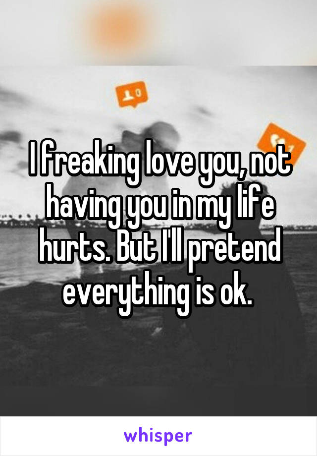 I freaking love you, not having you in my life hurts. But I'll pretend everything is ok.