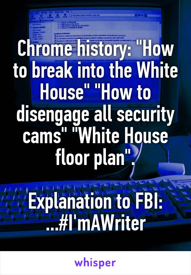 """Chrome history: """"How to break into the White House"""" """"How to disengage all security cams"""" """"White House floor plan"""".  Explanation to FBI: ...#I'mAWriter"""
