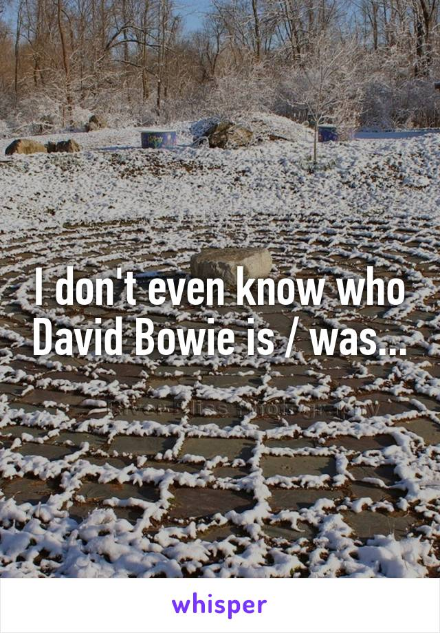 I don't even know who David Bowie is / was...