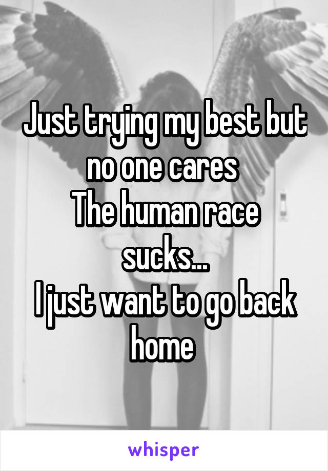 Just trying my best but no one cares  The human race sucks... I just want to go back home