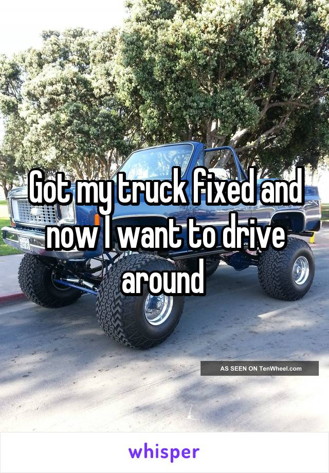 Got my truck fixed and now I want to drive around