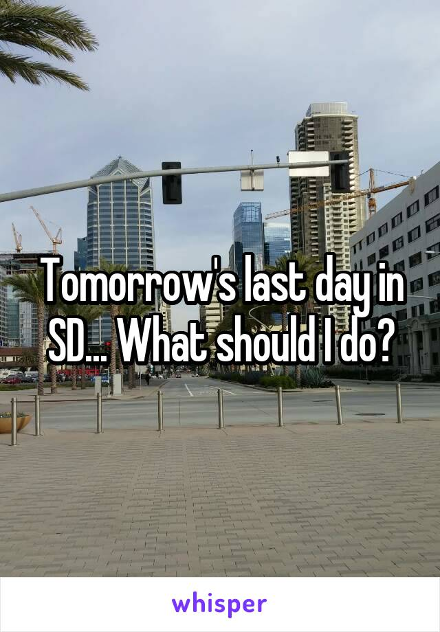 Tomorrow's last day in SD... What should I do?