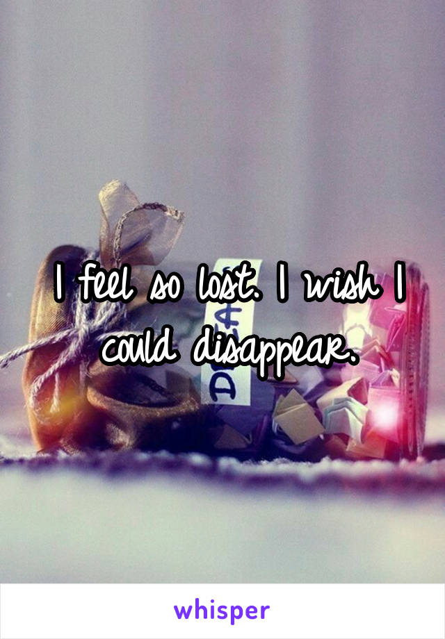 I feel so lost. I wish I could disappear.