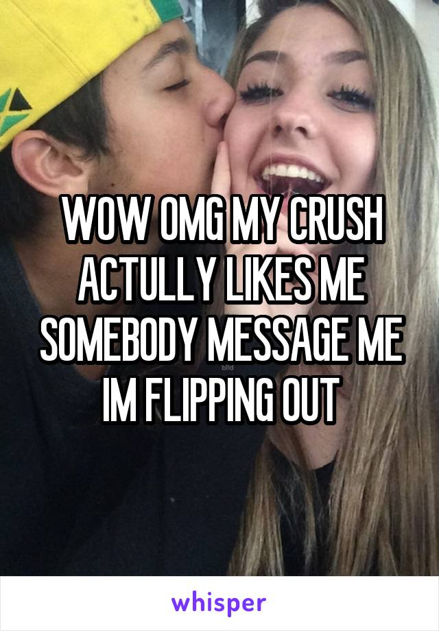 WOW OMG MY CRUSH ACTULLY LIKES ME SOMEBODY MESSAGE ME IM FLIPPING OUT