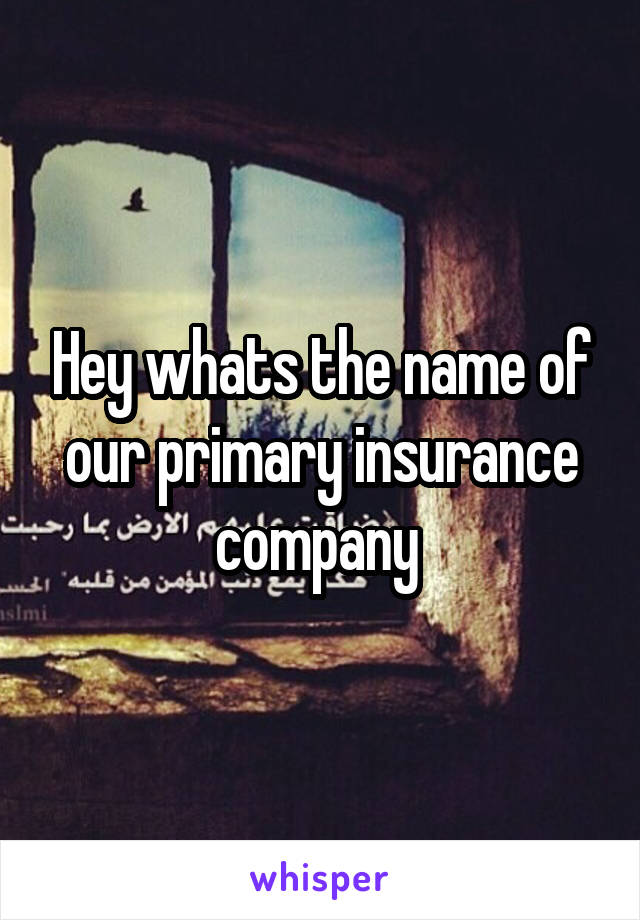 Hey whats the name of our primary insurance company