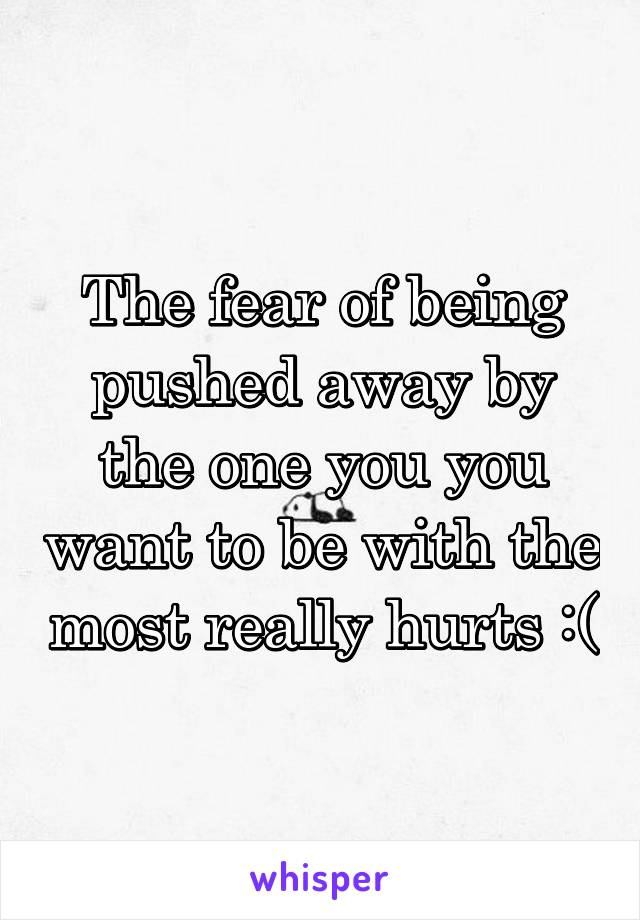 The fear of being pushed away by the one you you want to be with the most really hurts :(